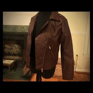 Jackets & Coats - NWT- chocolate faux leather moto jacket